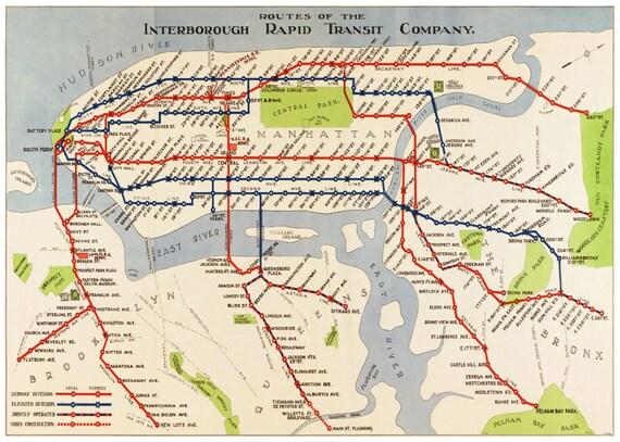 Subway Map In Manhattan.New York Map Manhattan Subway Map Vintage