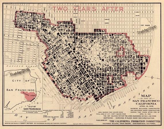 San Francisco Earthquake Fire Map Vintage Print Poster Etsy