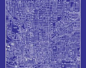 1944 Indianapolis Street Map Vintage Blueprint  Print Poster