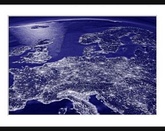 NASA - Earth At Night - Central Europe - Print - Poser - Blue