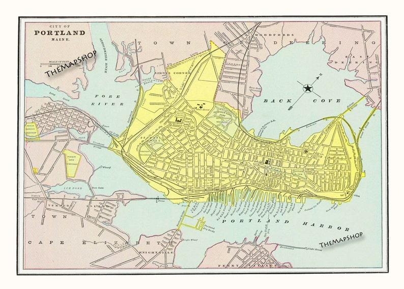 Portland Maine Map - Portland Vintage Map - Poster Print