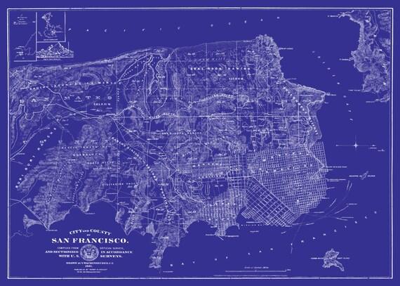 San francisco msp street map vintage blueprint print poster malvernweather Image collections