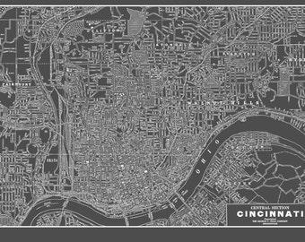 Cincinnati Ohio Map - Street Map VintageGray