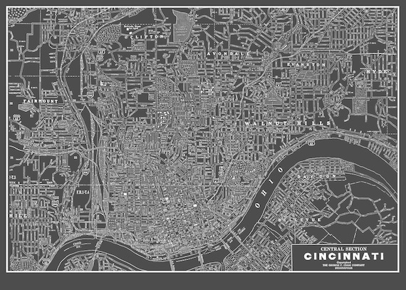 Mapa De Cincinnati Ohio Callejero Vintagegray Etsy