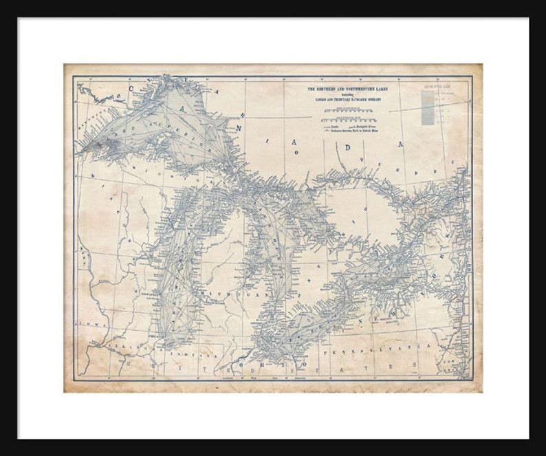 Great Lakes Map Map Art Lake Superior Lake Michigan Lake | Etsy
