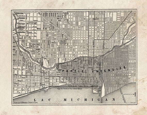 Chicago Fire Street Map Vintage Print Poster Grunge Etsy