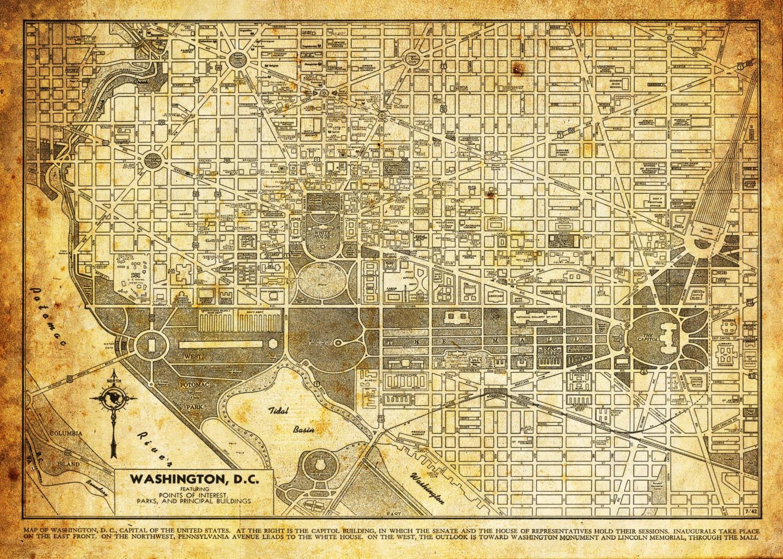Washington Dc Map Street Map Vintage Sepia Grunge Print Etsy