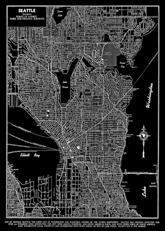 Seattle Seattle Map Art Poster Seattle Street Map Black Etsy