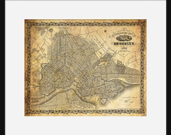 Brooklyn New York City Street Map Vintage Sepia Grunge Print Poster