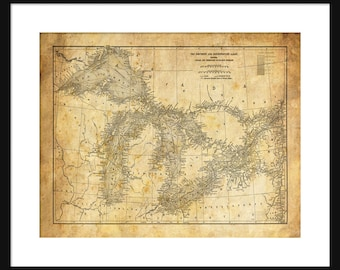 Great Lakes Map - Map Art - Lake Superior, Lake Michigan, Lake Huron, Lake Erie - Sepia