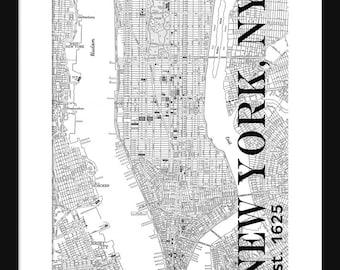 new york city map manhattan street map vintage manhattan