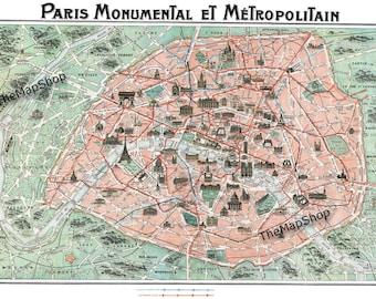 Paris Street Map - Vintage Map - Paris