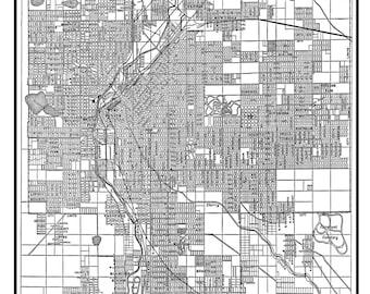 1944 Denver Street Map Vintage 11x14 Print Poster