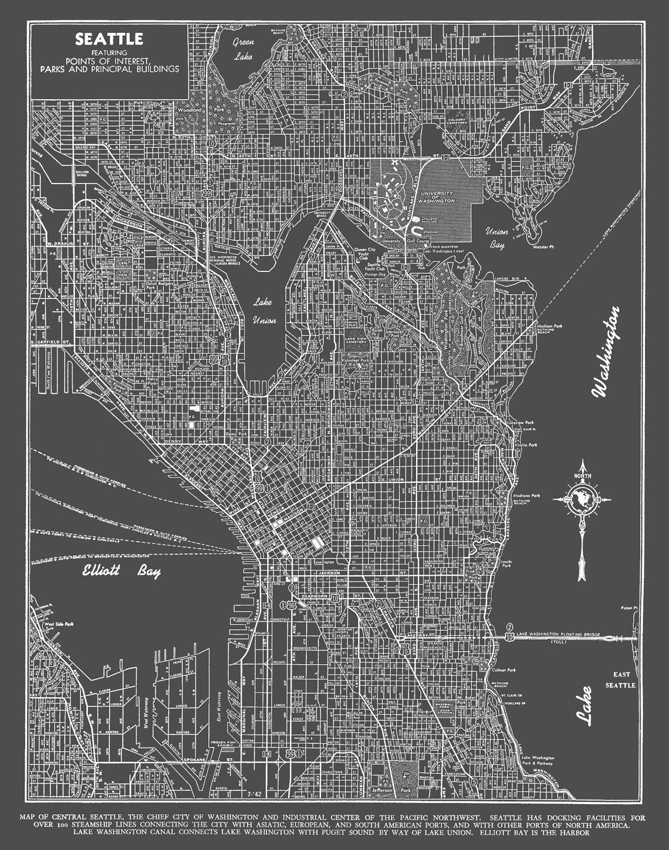 Seattle Map Art Poster Dark Gray Seattle Street Map Etsy
