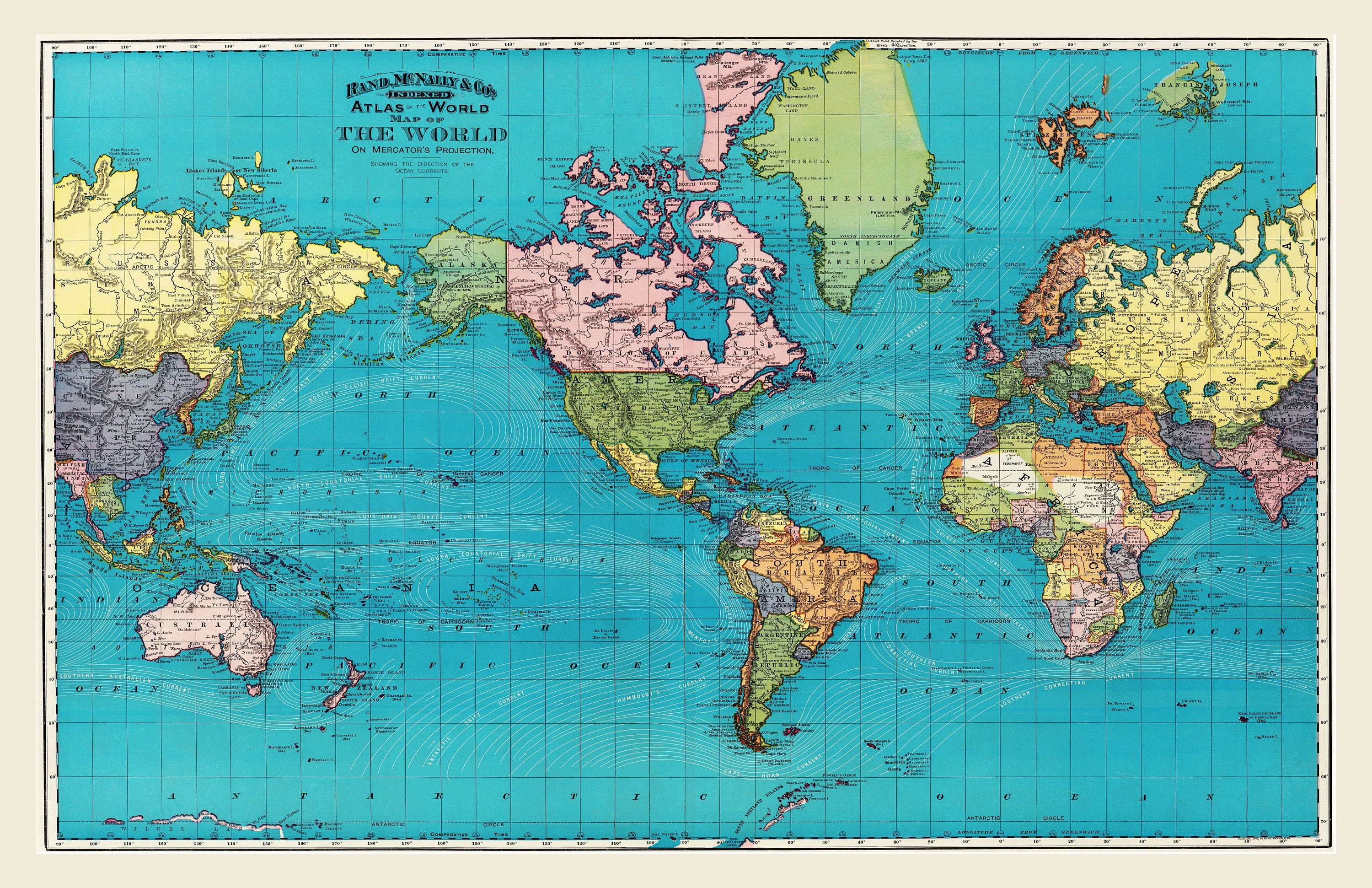 Full Map Of The World.World Map World Travel Mapprint Poster