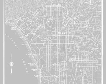 Los Angeles Map - Street Map Light Gray Print Poster