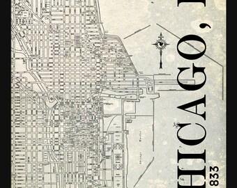 Chicago Street Map Vintage Print Poster Titled Gray Grunge