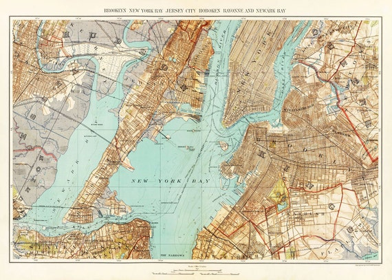 New York Map - New York Harbor - Newark - Brooklyn - Bronx - Vintage- Map New York Harbor on liberty island map, colonial new york state map, clayton new york map, statue of liberty map, new york water taxi map, long island school district map, bell harbor florida map, port chester new york map, mississippi river map, east new york map, east coast map, hempstead new york map, new york university map, hudson valley new york map, york harbor me map, erie canal map, new york lighthouses map, rivers in new york map, new york bay map, new york finger lakes map,