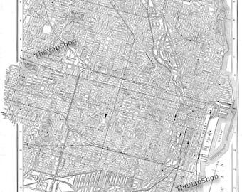 1900 Chicago Street Map Vintage Print Poster
