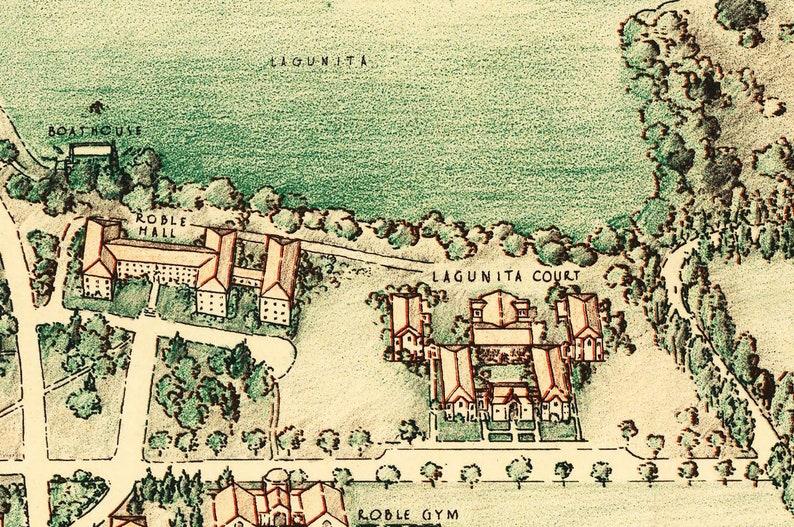 Stanford University - Map - Vintage - Print - Poster California