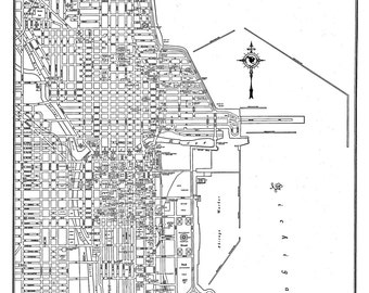 1944 Chicago Street Map Vintage Print Poster