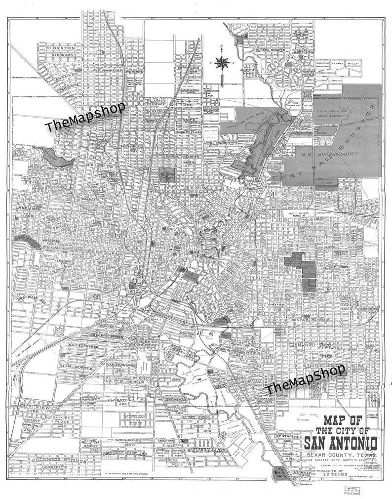 1924 San Antonio Street Map Vintage 11x14 Print Poster