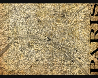 Paris Street Map Street Map Poster Print - Grunge - Paris Map