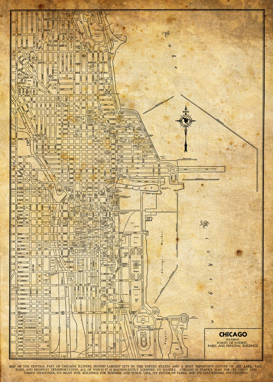 1944 Chicago Street Map Vintage Grunge Print Poster | Etsy