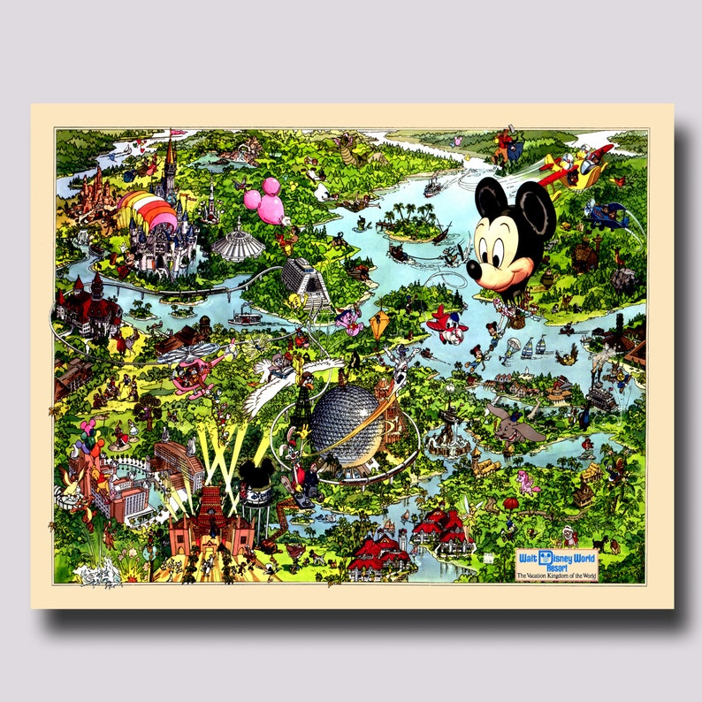 image about Printable Maps of Disney World identify Disney International Map - Common - Disney Map - Panoramic Birds Eye Watch - Map of Disney Worldwide