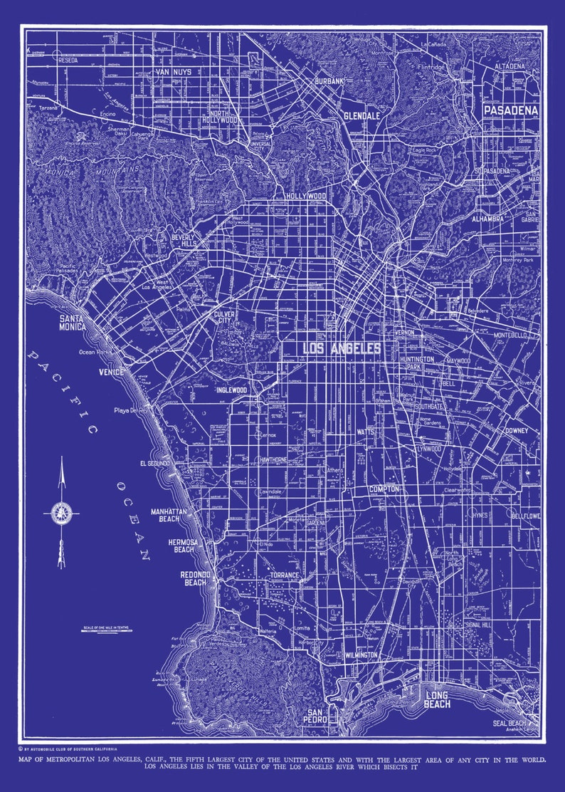 Los Angeles Map - Street Map Vintage Blueprint Print Poster on street map of seal beach ca, city of manhattan beach ca, street map of taft ca, street map of ventura county ca, street map of san fernando valley ca, street map of huntington beach ca, street map of beverly hills ca, street map of concord ca, street map of crescent city ca, street map of san luis obispo ca, street map of big bear lake ca, street map of culver city ca, street map of indio ca, street map of cayucos ca, street map of half moon bay ca, street map of foresthill ca, street map of simi valley ca, street map of bass lake ca, street map of whittier ca, street map of menlo park ca,