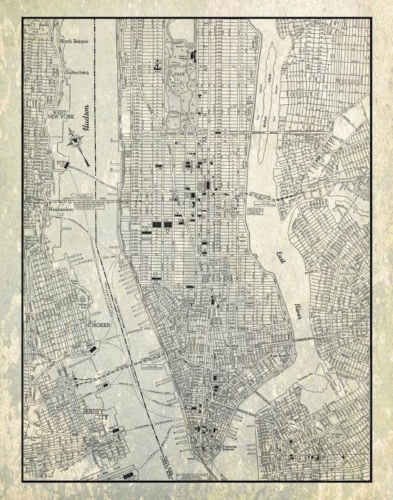 Street Map Of Manhattan Nyc.New York City Map 1944 New York City Manhattan Street Map Gray Etsy