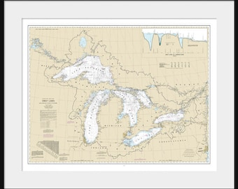 Great Lakes Map - Nautical Map - Nautical Chart - Map Art - Lake Superior, Lake Michigan, Lake Huron, Lake Erie - White