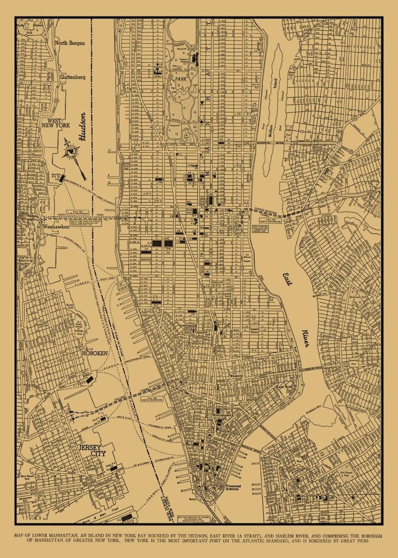 Map Of New York City Manhattan.New York City Map New York City Manhattan Street Map Etsy