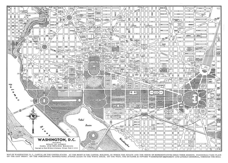 Washington Map DC Street Map Vintage Print Poster   Etsy on