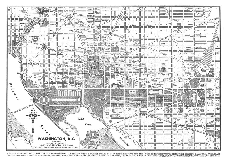 Printable Dc Map.Washington Map Dc Street Map Vintage Print Poster Etsy