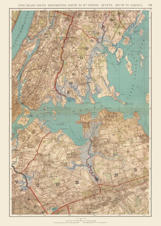 Map Of New York Showing Queens.Queens 1895 Map Of Queens New York City Print Poster