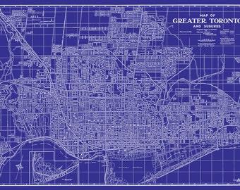 Toronto Map Vintage Street Map Print Poster
