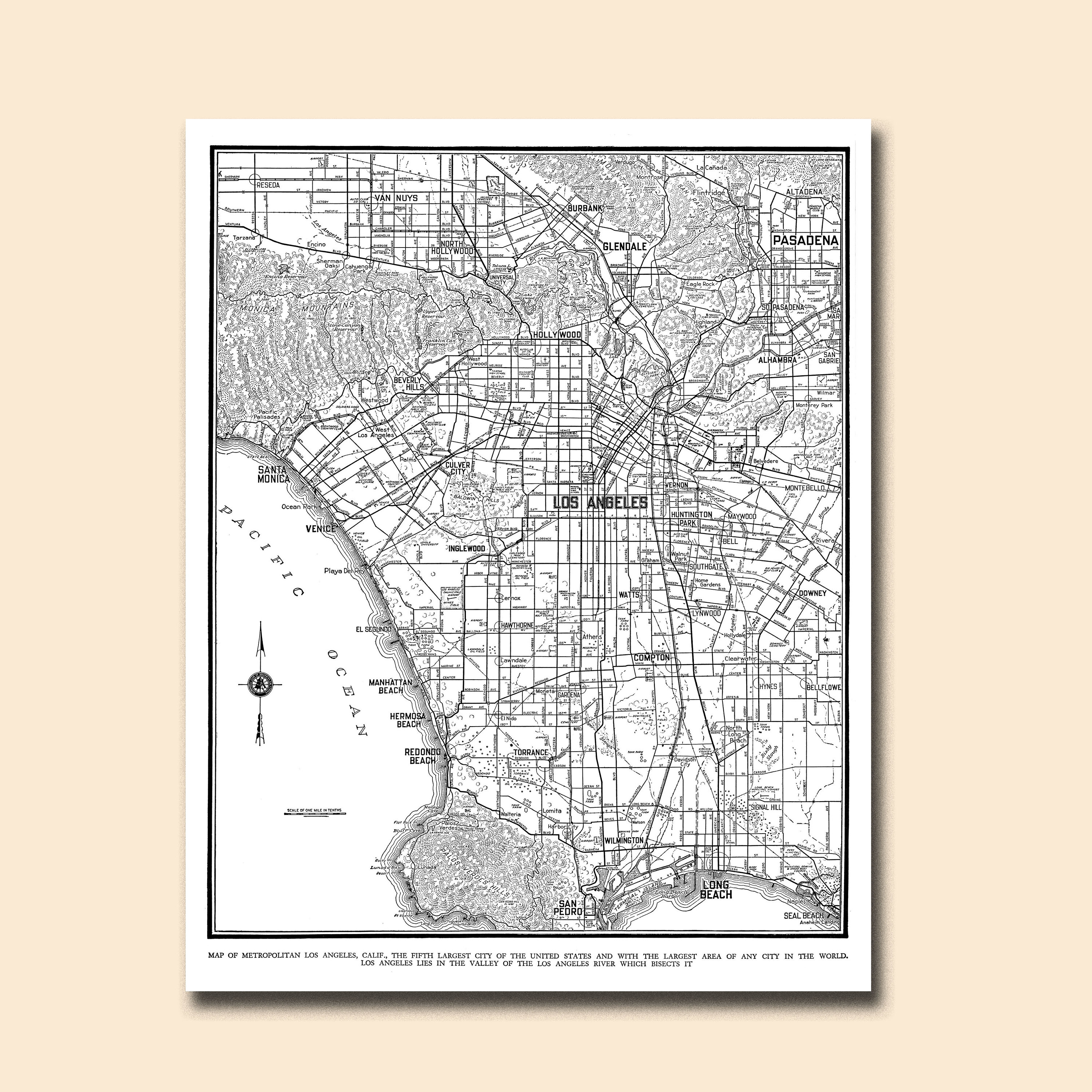 Los Angeles Map Street Map Vintage Etsy