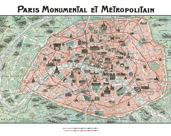 Paris Monuments Street Map Print Poster