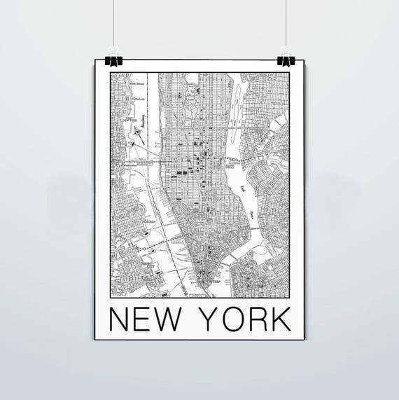 new york city map manhattan stadtplan vintage. Black Bedroom Furniture Sets. Home Design Ideas