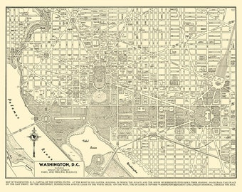 Washington DC Map - Street Map Vintage Cream Print Poster