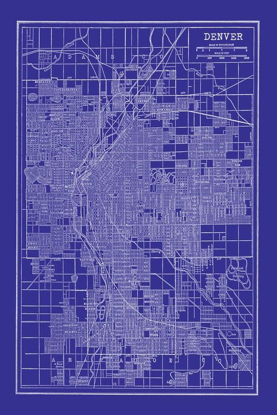 1944 denver street map vintage blueprint print poster malvernweather Images
