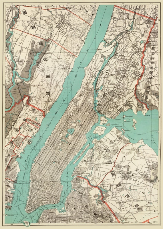 Map Of New York Brooklyn.New York City Map 1890 Map Of New York Newark Brooklyn Vintage Print Poster