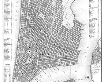 new york city map 1844 new york city manhattan street map poster print