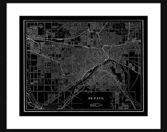 St Paul - Minnesota - Map - Black - Vintage Print Poster