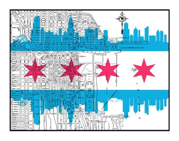 Chicago Map Streets.Chicago Map Street Map Chicago Flag Vintage Print Etsy