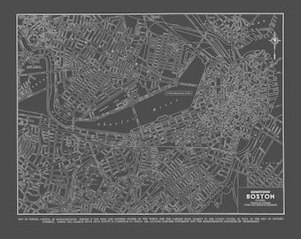 1944 Boston Street Map Gray Vintage Print Poster