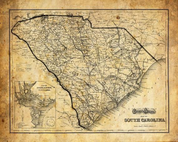 Vintage South Carolina Map.South Carolina Map Vintage Print Poster Grunge Etsy