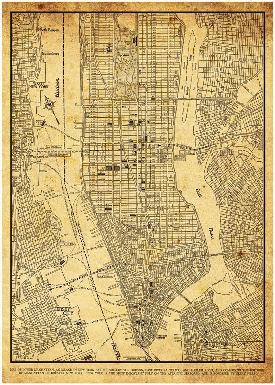 New York Map Street Map Manhattan Vintage Sepia Grunge Print Poster