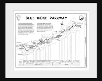 Blue Ridge Mountains Highway Map Print Poster
